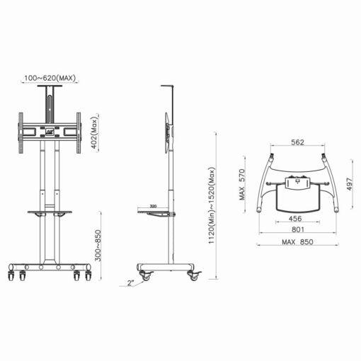 AVA1500 - mobilny stojak to telewizora