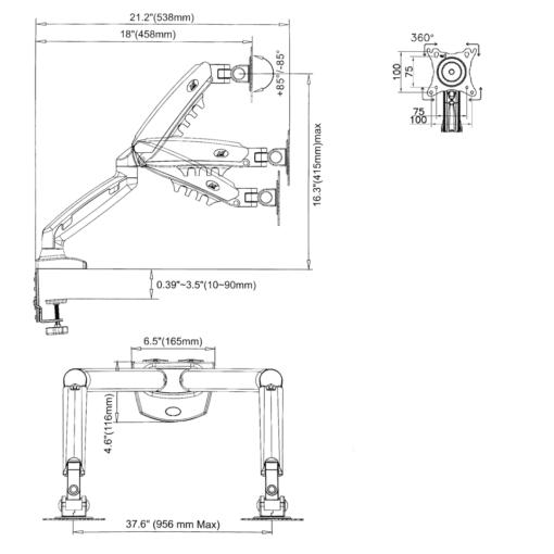 F160 - uchwyt biurkowy do dwóch monitorów - wymiary