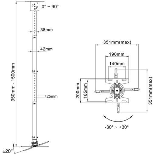 NBT718-4 rysunek techniczny uchwytu do projektora