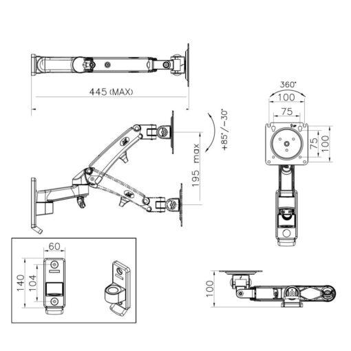F300 uchwyt ścienny do monitorów i telewizorów