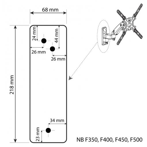 Płyta ścienna uchwytów TV F350 F400 F450 F500