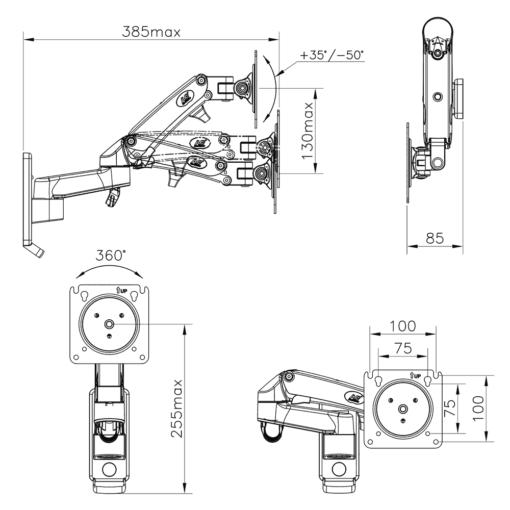 F150 - Ścienny uchwyt do monitorów - rysunek techniczny