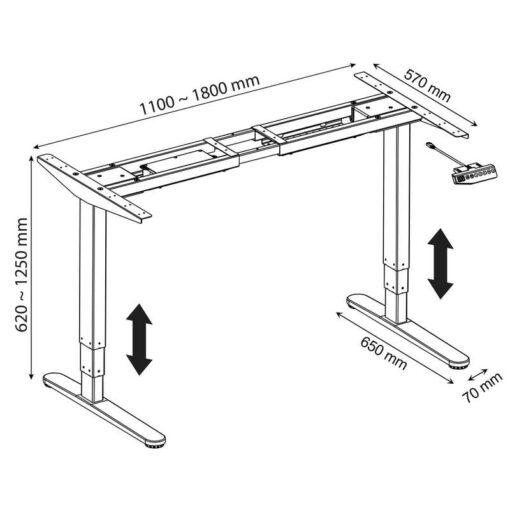 SR20 Stelaż biurka z elektryczną regulacją wysokości - wymiary