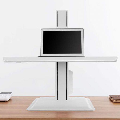 BT15 biały - nabiurkowa stacja robocza do pracy stojącej siedzącej do lapatopa monitora klawiatury