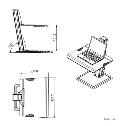 BT15 - nabiurkowa stacja robocza do pracy stojącej siedzącej do lapatopa monitora klawiatury