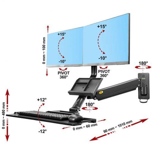 MC27-2A- Ścienna stacja robocza do dwóch monitorów do pracy stojącej i siedzącej