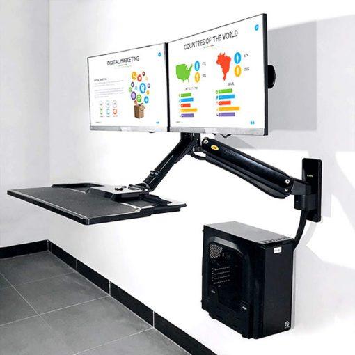 MC40-2A Ścienna stacja robocza do dwóch monitorów do pracy stojącej i siedzącej