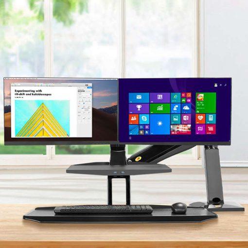 FC55-2A biurkowa stacja robocza z półką na klawiaturę i uchwytem na dwa monitory
