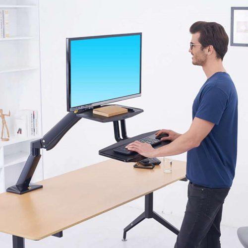 FC55 biurkowa stacja robocza do pracy na stojąco i siedząco z uchwytem na monitor i klawiaturę