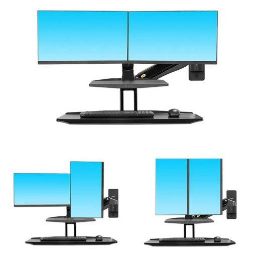 MC55-2A ścienna stacja robocza z półką na klawiaturę i uchwytem na dwa monitory