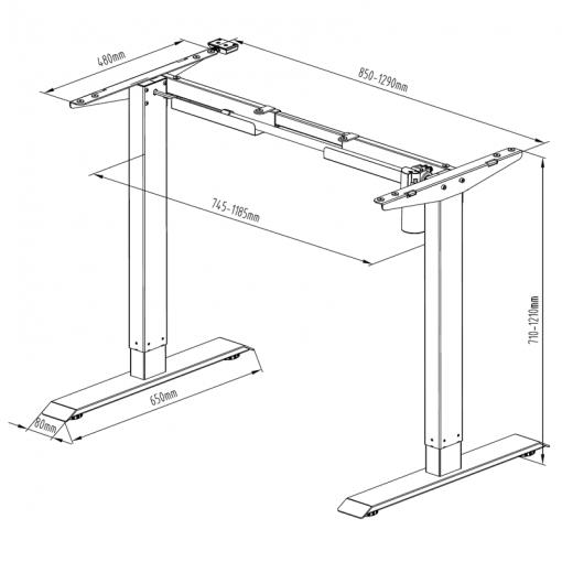 SR14 stelaż biurkowy z elektryczną regulacją wysokości - wymiary