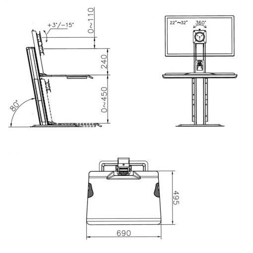 ST15 nabiurkowa stacja do pracy na stojąco i siedząco konwerter biurka z uchwytem na monitor - wymiary