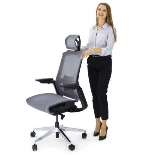 Ergonomiczny fotel biurowy Ergosolid Gualtiero-800 Szary