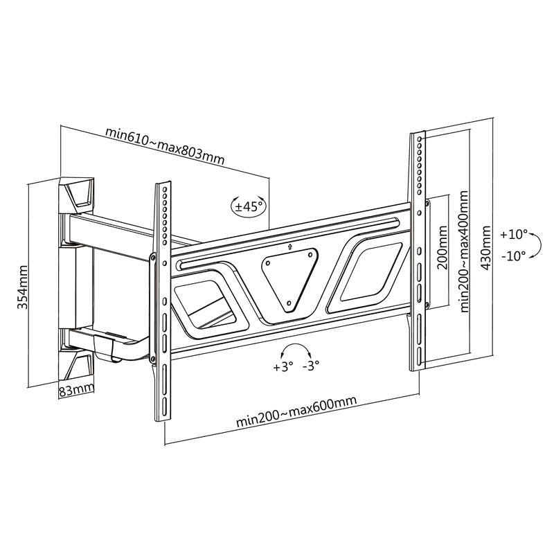 FN16 - Narożny uchwyt do telewizora. Rys. techniczny