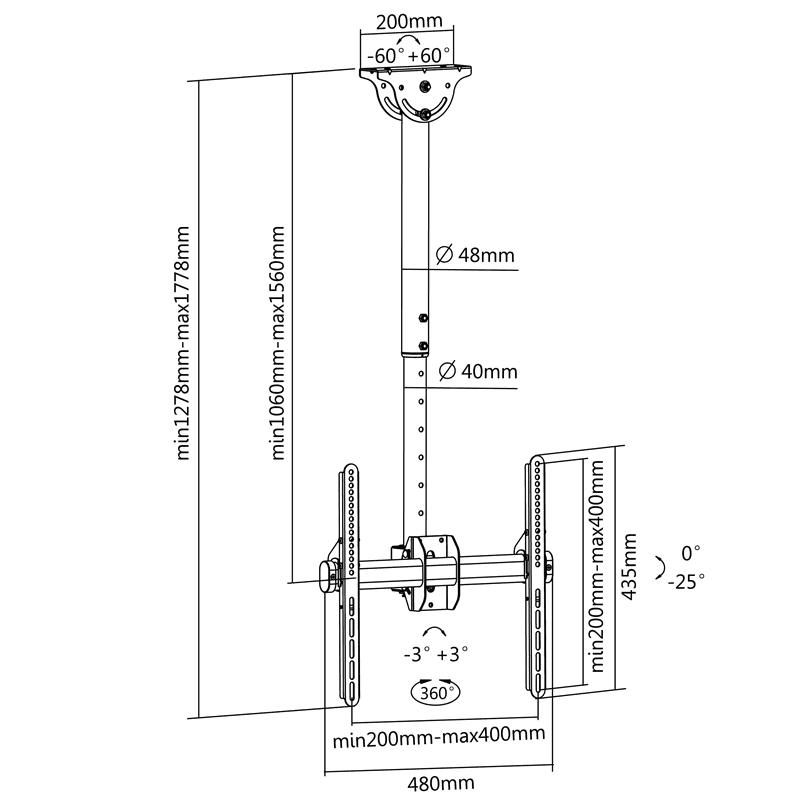 FN T1410 Sufitowy uchwyt do telewizora - rysunek techniczny