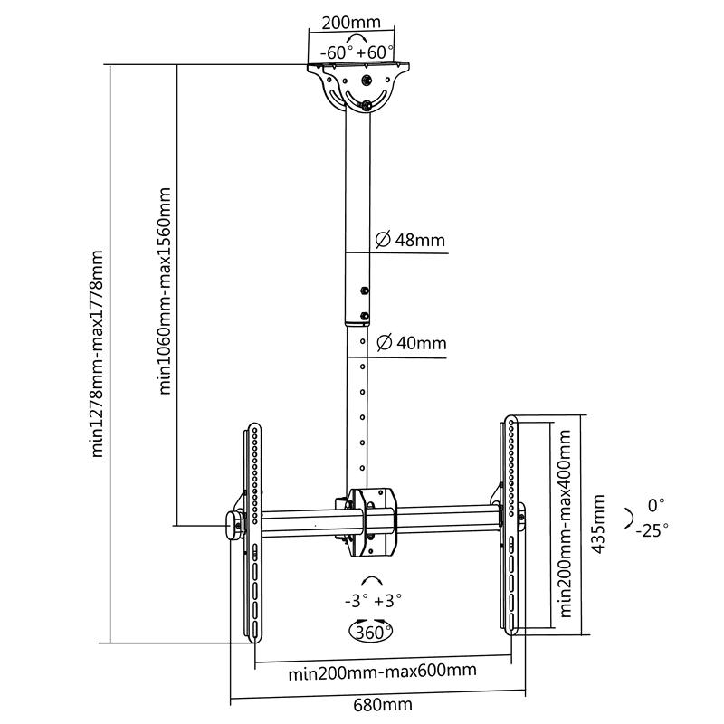 FN T1610 Sufitowy uchwyt do telewizora - rys. techniczny