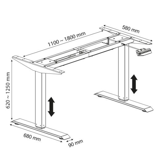 Ergosolid SR20 - stelaż biurka z elektryczną regulacją wysokości - wymiary