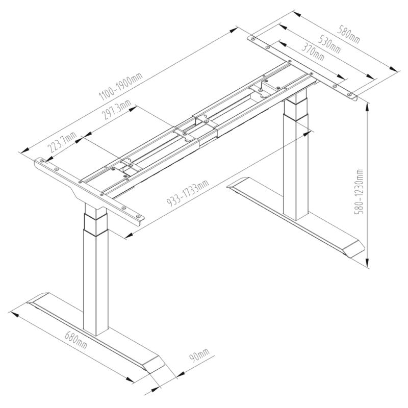 Ergosolid SR21W biały - stelaż biurka z elektryczną regulacją wysokości - wymiary