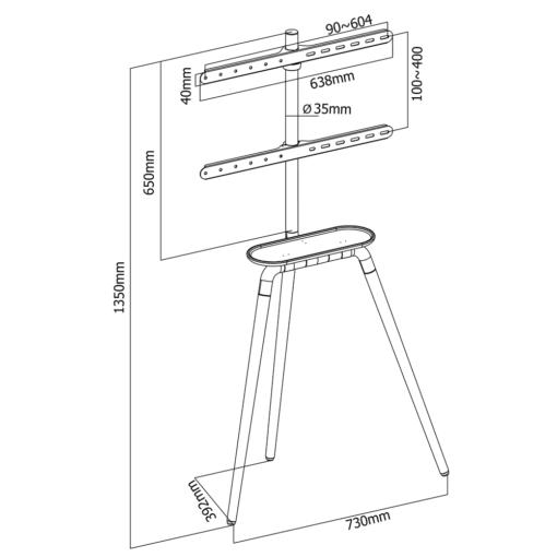 Tritonix Extra - trójnóg tripod do telewizora - wymiary